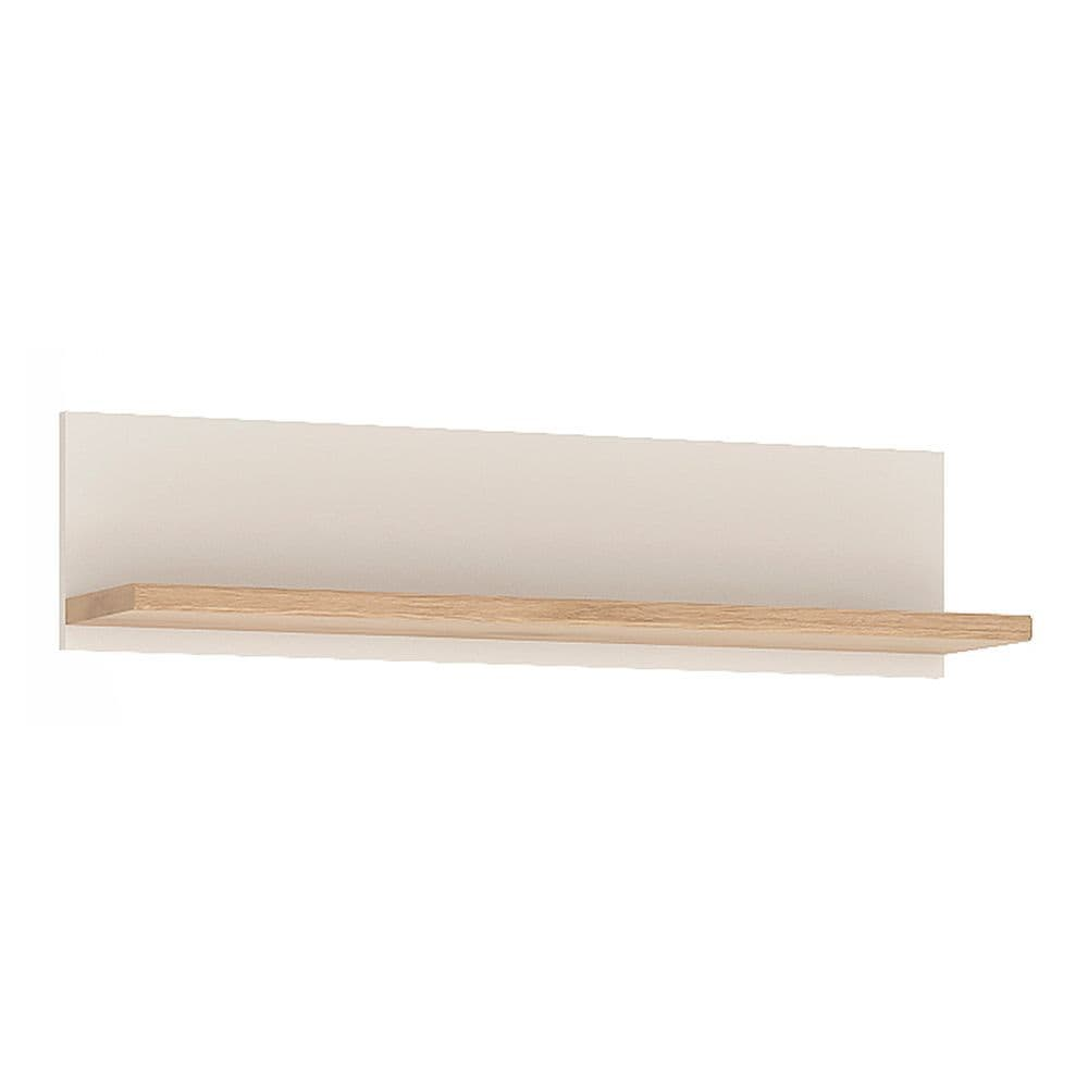 Kinder 81cm Wall Shelf in Light Oak and white High Gloss